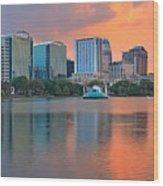 Orlando Cityscape Sunset Wood Print