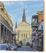 Orleans Street And St Louis Cathedral Wood Print