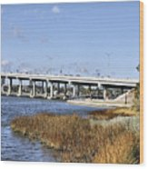 Ormond Beach Bridge Wood Print