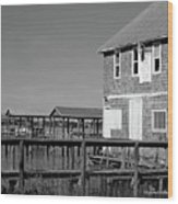 Ormond Yacht Club Black And White Wood Print