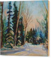 Ormstown Quebec Winter Road Wood Print