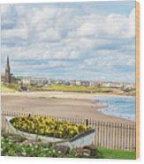 Ornamental Boat Against Tynemouth Coastline Wood Print