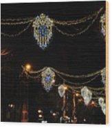 Ornamental Design Christmas Light Decoration In Madrid, Spain Wood Print
