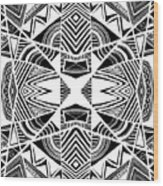 Ornamental Intersection - Abstract Black And White Graphic Drawing Wood Print