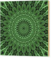 Ornamented Mandala In Green Tones Wood Print