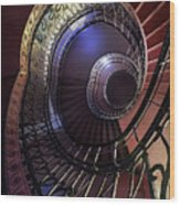 Ornamented Metal Spiral Staircase Wood Print