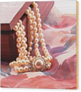 Ornate Box Carved And Pearl Necklace Detail Wood Print