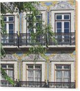 Ornate Building Facade In Lisbon Portugal Wood Print