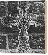 Ornate Cross 3 Bw Wood Print