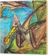 Ornithocheirus By The Sea Wood Print