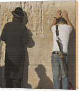 Orthodox Jew And Soldier Pray, Western Wood Print