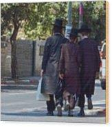 Orthodox Jews In Jerusalem Wood Print
