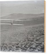 Orville Making Right Turn Showing Warping Of Wings Hill Visible In Front Of Him Kitty Hawk North Car Wood Print