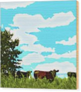 Osage County Cows Wood Print