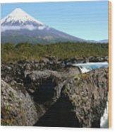 Osorno Volcano From Petrohue Falls Wood Print