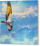 Osprey Soaring High Against A Beautiful Sky Wood Print