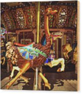 Ostrich Carousel Ride Wood Print