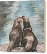 Otter Buddies Wood Print
