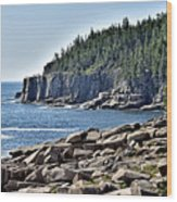 Otter Cliffs In Acadia National Park - Maine Wood Print