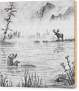 Otter Fog Wood Print