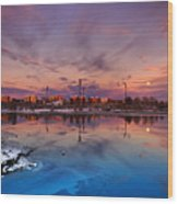 Oulu Moonrise Panorama Wood Print