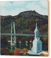 Our Lady Of Mt Carmel Church Steeple - Poughkeepsie Ny Wood Print