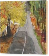 Our Road With Yellow Maple Wood Print