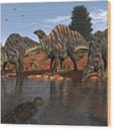 Ouranosaurus Drink At A Watering Hole Wood Print