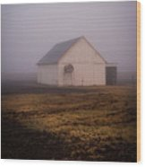 Out Building In The Fog Wood Print