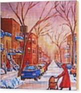 Out For A Walk With Mom Wood Print