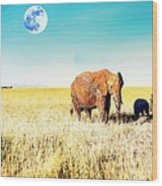 Out In The Serengeti Wood Print