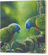 Out On A Limb - St. Lucia Parrots Wood Print