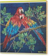 Out On A Limb- Macaws Parrots - Bordered Wood Print