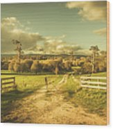 Outback Country Paddock Wood Print