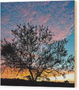 Outback Sunset Pano Wood Print