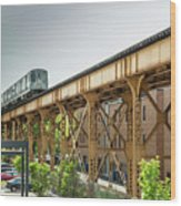 Outbound Blue Line Wood Print