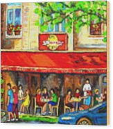 Outdoor Cafe On St. Denis In Montreal Wood Print