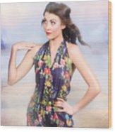 Outdoor Fashion Portrait. Spring Twilight Beauty Wood Print