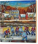 Outdoor Hockey Rink Wood Print