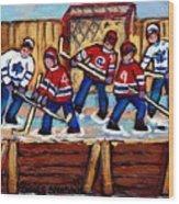 Pointe St Charles Hockey Rink Painting Leafs Vs Habs Quebec Winter Scene Hockey Art Carole Spandau Wood Print