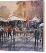 Outdoor Market - Rome Wood Print