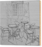 Outdoor Seating - Pirates Alley - French Quarter Wood Print