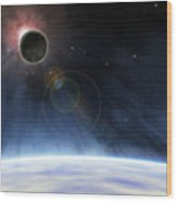 Outer Atmosphere Of Planet Earth Wood Print