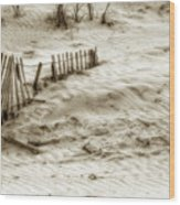 Outer Banks Beach Sand Fence  Wood Print