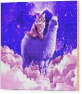 Outer Space Galaxy Kitty Cat Riding On Llama Wood Print