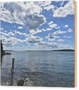 Outhaul On An Island In Casco Bay Maine  Wood Print