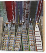 Outrigger Canoe Boats And Water Reflection Wood Print by Ben and Raisa Gertsberg