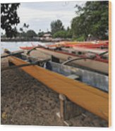 Outrigger Canoes Wood Print