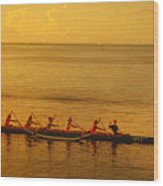 Outrigger In Tahiti Wood Print