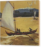 Outrigger Off Shore Wood Print